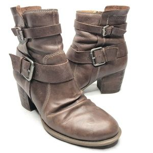 Naya Virtue Brown Leather Buckles Fall Heeled Boot